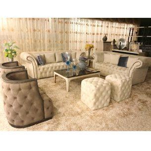 Italian Leather living Room Chesterfield Sofa