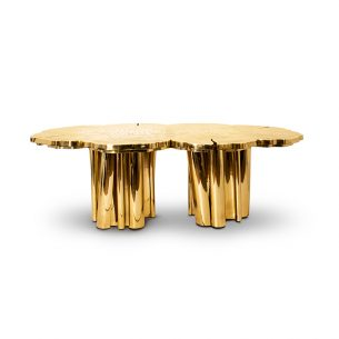 Mirror Glass Stainless Steel Dining Table