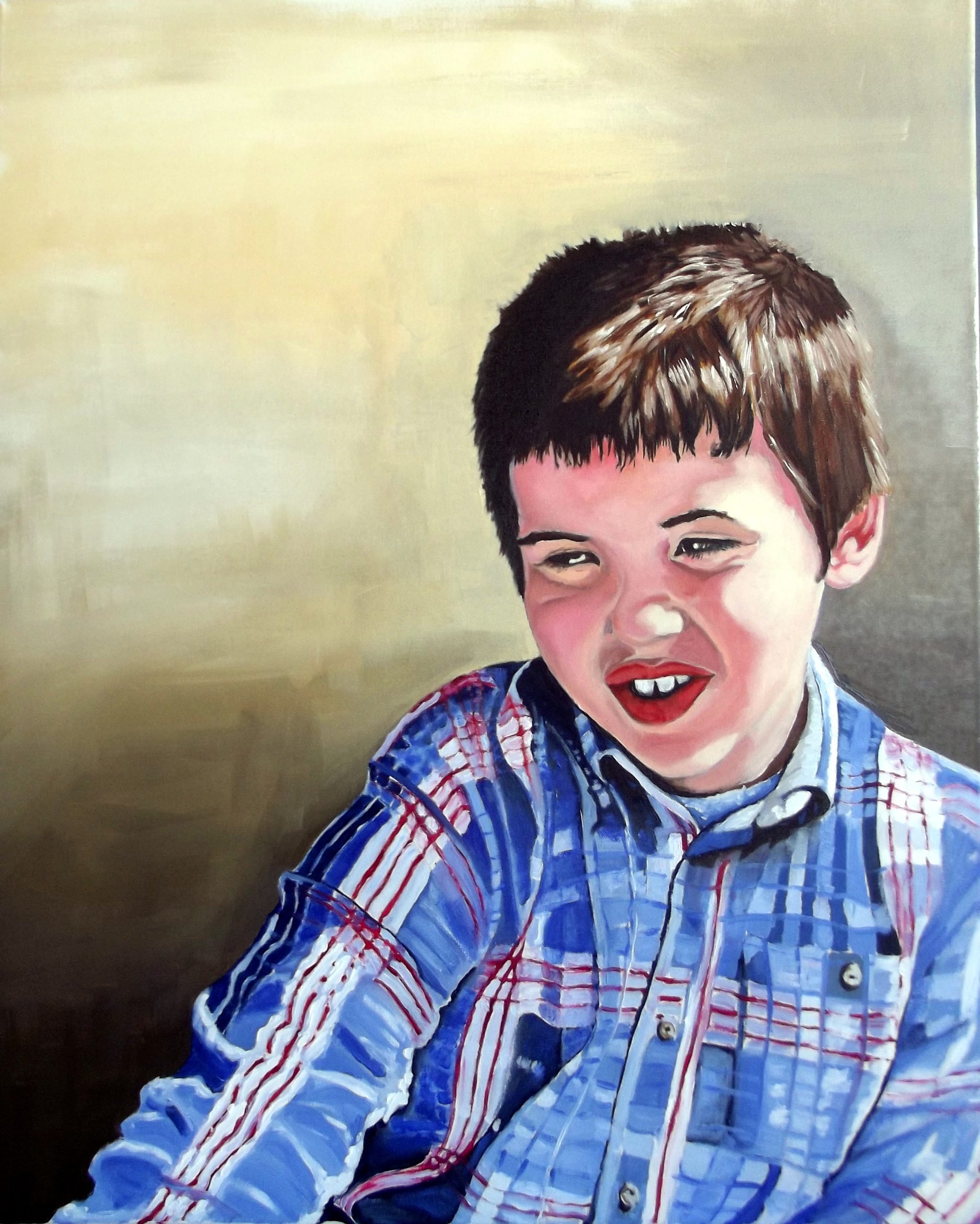 oil painting of a boy from photo