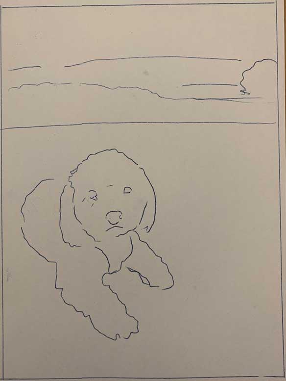 Sylvie pencil dog portrait