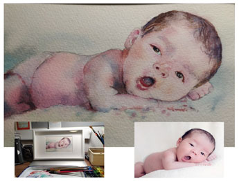 Popular Watercolour Pastel Portrait Artist from just £55