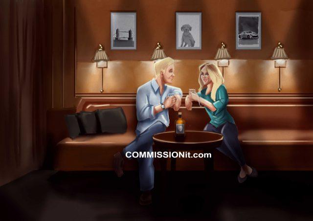 Romantic Portrait Commission Of Couple In A Bar