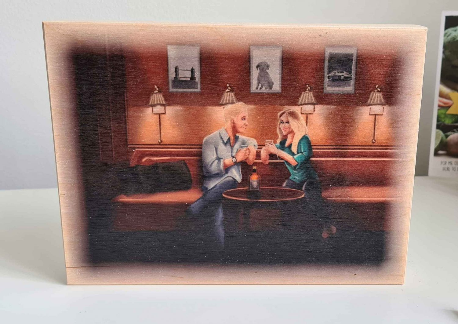 Romantic Portrait Commission Of Couple In A Bar