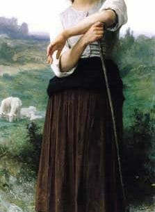 Bouguereau, William(France): Young Shepherdess Standing Oil Painting Reproductions