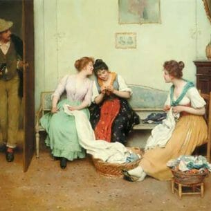 Blaas, Eugene de(Austria): The Friendly Gossips Oil Painting Reproductions