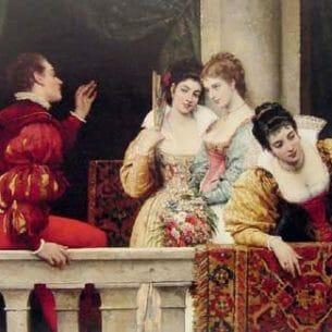 Blaas, Eugene de(Austria): On the Balcony