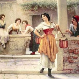 Blaas, Eugene de(Austria): Flirtation at the Well Oil Painting Reproductions