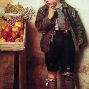 Brown, John George: Eyeing the Fruit Stand