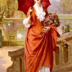 Caraud, Joseph(France): The Red Parasol Oil Painting Reproductions