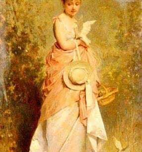 Chaplin, Charles(France): Girl with Doves Oil Painting Reproductions
