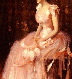 Chase, William Merritt(USA): Portrait Of A Lady In Pink Oil Painting Reproductions