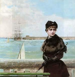 Corcos, Vittorio(Italy): An elegant Woman at St. Malo