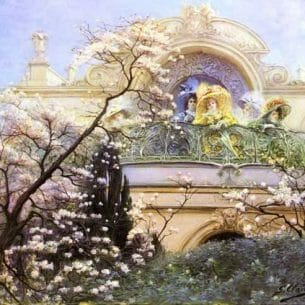 Clairin, Georges Jules Victor(France): On The Balcony Oil Painting Reproductions