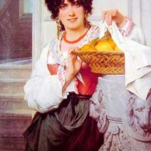Cot, Pierre-Auguste(France): Pisan Girl with Basket of Oranges and Lemons Oil Painting Reproductions