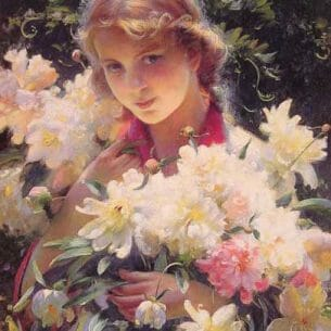 Curran, Charles Courtney(USA): Peonies Oil Painting Reproductions