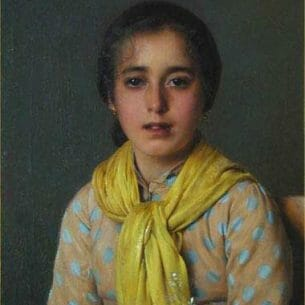 Corcos, Vittorio(Italy): Girl with Yellow Shawl Oil Painting Reproductions