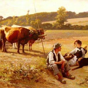 Debat-Ponsan, Edouard Bernard(France): Rest In The Fields Oil Painting Reproductions
