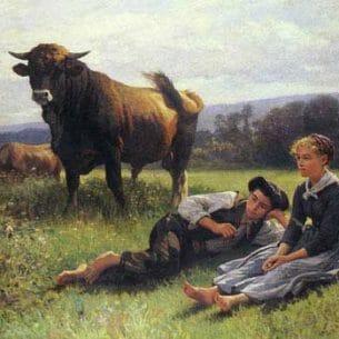 Debat-Ponsan, Edouard Bernard(France): Herdsman's Repose Oil Painting Reproductions