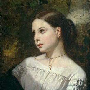 Couture, Thomas(France): Portrait of a Girl Oil Painting Reproductions