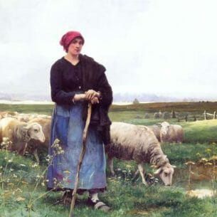 Dupre, Julien(France): A Shepherdess with her flock Oil Painting Reproductions