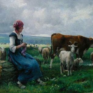 Dupre, Julien(France): Shepherdess with Goat, Sheep and Cow Oil Painting Reproductions
