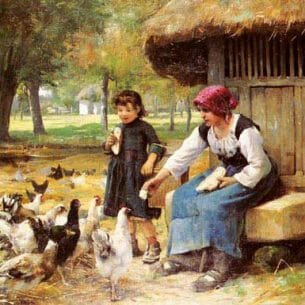 Dupre, Julien(France): Feeding Time Oil Painting Reproductions