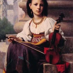 Delobbe, Francois Alfred(France): The Young Musician Oil Painting Reproductions