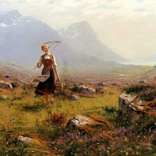 Dahl, Hans(Norway): Returning From The Fields Oil Painting Reproductions