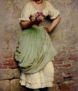 Blaas, Eugene de(Austria): The Flower Seller Oil Painting Reproductions