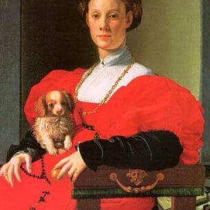 Bronzino, Agnolo(Italy): Portrait of a Lady with a Puppy Oil Painting Reproductions