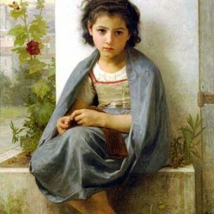 Bouguereau, William(France): The Little Knitter Oil Painting Reproductions