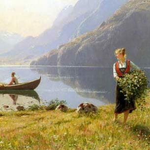 Dahl, Hans(Norway): On The Banks of the Fjord Oil Painting Reproductions