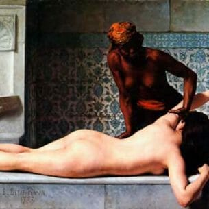 Debat-Ponsan, Edouard Bernard(France): The Massage in the Harem Oil Painting Reproductions