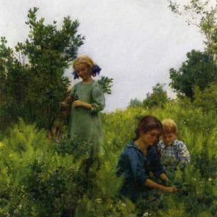 Curran, Charles Courtney – Blueberries and Ferns Oil Painting Reproductions