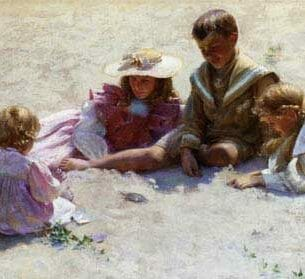 Curran, Charles Courtney – Children by the Seashore Oil Painting Reproductions