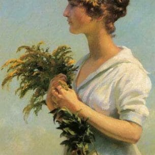 Curran, Charles Courtney – Girl with Goldenrod Oil Painting Reproductions