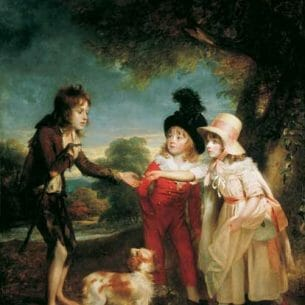 Beechey, Sir William – Portrait of Sir Francis Ford's Children Giving a Coin to a Beggar Boy Oil Painting Reproductions