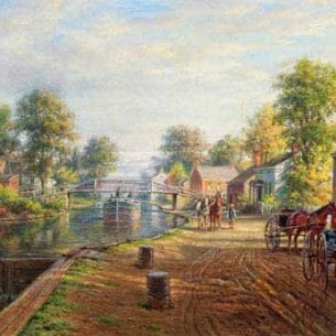 Edward Lamson Henry – Scene along Delaware and Hudson Canal Oil Painting Reproductions