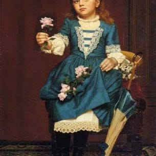 Brown, John George – Daisy McComb Holding a Pink Rose