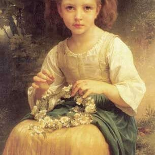 Bouguereau, William – Child Braiding a Crown Oil Painting Reproductions