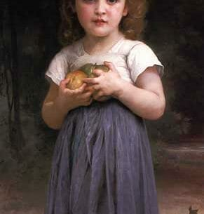 Bouguereau, William – Little girl holding apples in her hands