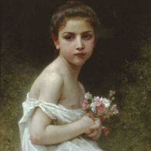 Bouguereau, William – Little girl with a bouquet Oil Painting Reproductions