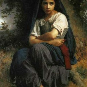 Bouguereau, William – The Little Knitter Oil Painting Reproductions