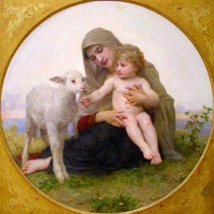 Bouguereau, William – Virgin and Lamb Oil Painting Reproductions