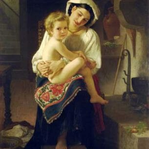Bouguereau, William – Young Mother Gazing At Her Child Oil Painting Reproductions
