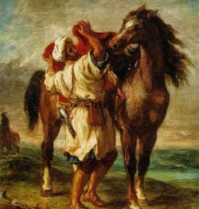 Delacroix, Eugene: Arab Saddling His Horse Oil Painting Reproductions