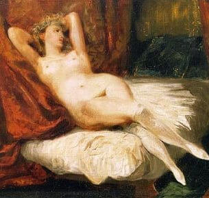 Delacroix, Eugene: Female Nude Reclining on a Divan Oil Painting Reproductions
