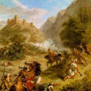 Delacroix, Eugene: Arabs Skirmishing in the Mountains Oil Painting Reproductions