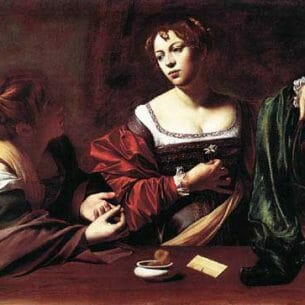 Caravaggio, Michelangelo Merisi da: Martha and Mary Magdalene Oil Painting Reproductions