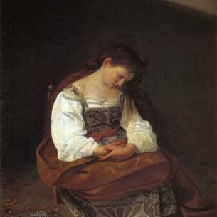Caravaggio, Michelangelo Merisi da – Penitent Magdalen Oil Painting Reproductions